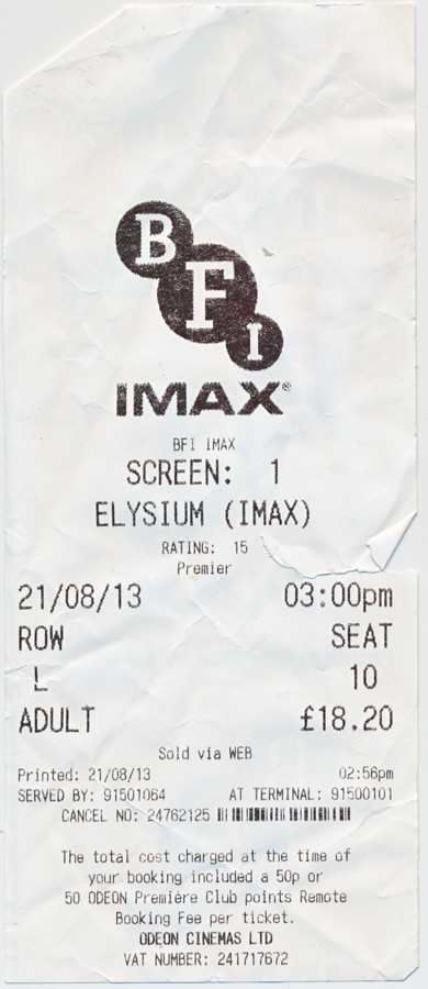 That's right. IMAX. It was an upconvert, terrible, and cost £16 for a matinee. But there were five minutes less of trailers. You gotta use money for something.